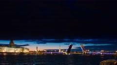 Night of Opening Palace bridge in St. Petersburg Stock Footage