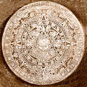 Stock Photo of Ancient aztec calendar isolated on white