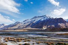 Spiti Valley -  snowcapped Himalayan Mountains. Himachal Pradesh, India Stock Photos