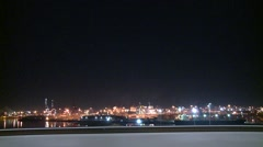 Port Docklands at Night Tracking Shot Stock Footage