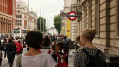 People walking in South Kensington, London Stock Footage