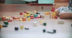 Little Girl Playing with Toy Blocks Stock Footage