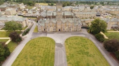 Aerial tracking shot of Victorian Asylum Hospital in West Yorkshire, UK - stock footage