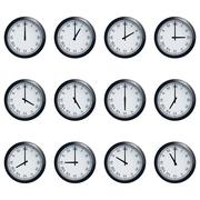 Clock set with Roman numerals, timed at each hour - stock illustration
