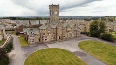 Aerial View of Asylum Hospital in Yorkshire UK Stock Footage
