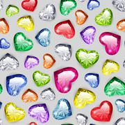 Colorful Gem Hearts Seamless Pattern - stock illustration