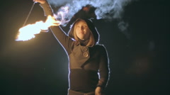 Skillful Fire Performer Stock Footage
