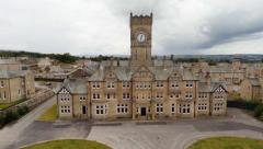 Dramatic crane/aerial view of Asylum Hospital in Yorkshire, UK Stock Footage