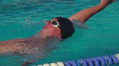 Swimmer performing backstroke Stock Footage