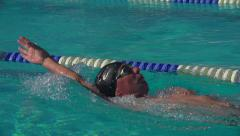 Swimmer performs backstroke Stock Footage