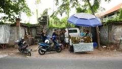 Selling durian fruit from small truck on the Balinese street Stock Footage