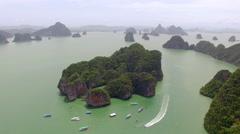 Aerial shot lagoon island sea Thailand Stock Footage