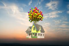 Wooden victorian house flying up Stock Illustration