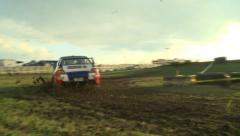 Rally Car Fly By Low Angle Stock Footage