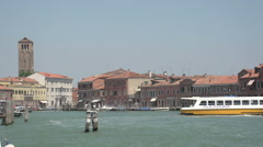 Entry Murano from Venice, ferry docks at station Stock Footage