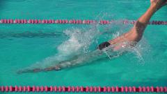 Swimmer diving out of pool in reverse motion. Stock Footage