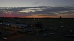 Aiport at sunset-wide shot Stock Footage