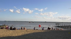 Southend on Sea- Beach sunny day Stock Footage