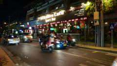Stadium Cafe sport bar facade at night, Jalan Kartika, Kuta Stock Footage