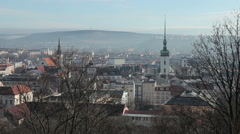 View of the city of Brno, the white tower of St. James Church Stock Footage