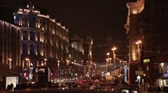 Moscow. Night. The movement of cars on Tverskaya Boulevard Stock Footage