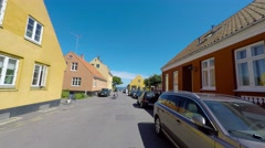 Visiting the small town Svaneke Stock Footage