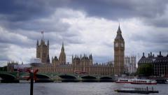 Elizabeth Tower (big ben) and The Palace of Westminster - stock footage