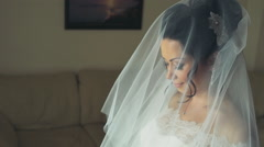 Bride in veil waiting for the wedding ceremony to start Stock Footage