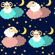 Seamless pattern with sheep at night - stock illustration