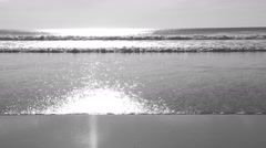 Slow motion Ocean. Black and white. Wide angle. Stock Footage