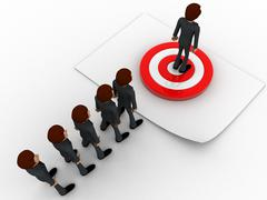 3d men in queue and standing on target board one by one concept - stock illustration