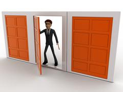 Stock Illustration of 3d man choose middle one door from three different doors concept
