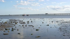 Southend on Sea-Low tide looking out at pier timelapse - stock footage