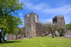 Guimaraes castle, in the north of Portugal. - stock photo