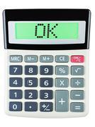 Calculator with OK Stock Photos