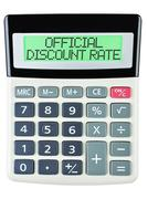 Calculator with OFFICIAL DISCOUNT RATE Stock Photos