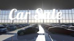 Many new cars in sunny showroom. Car Sale. Stock Footage
