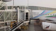 Aircraft on landing ramp Stock Footage