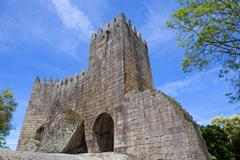 Guimaraes castle detail, in the north of Portugal. Stock Photos