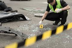 Stock Photo of Investigation at road accident area