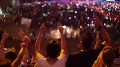 Handheld shot of a crowd making party at a rock concert Stock Footage