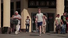 Summer Moscow. People walk near the metro Kropotkinskaya Stock Footage