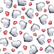 Ruby and Diamond Gem Hearts Seamless Pattern Stock Illustration