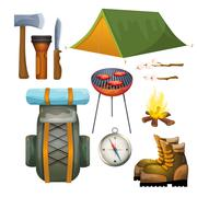 Tourism hiking camping flat pictograms collection - stock illustration