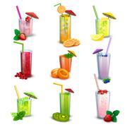 Summer milkshakes drinks flat icons set - stock illustration