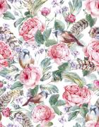 Watercolor floral vintage seamless pattern with roses birds and feathers - stock illustration