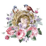 Classical watercolor floral vintage greeting card with rose birds nests and - stock illustration