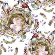 Watercolor floral vintage seamless pattern with birds nests and feathers Stock Illustration