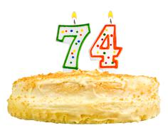 Birthday cake candles number seventy four isolated Stock Photos