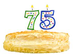 Birthday cake candles number seventy five isolated Stock Photos
